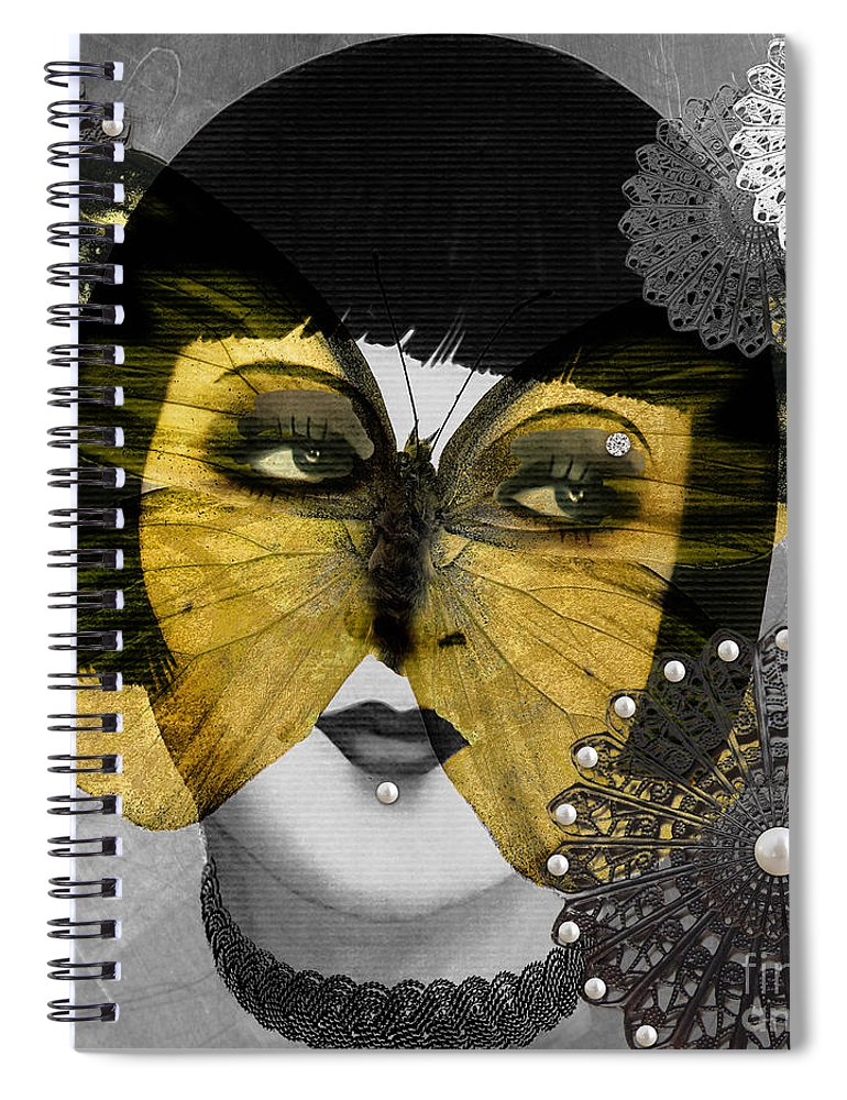 Art Deco Spiral Notebook featuring the digital art Art Deco Butterfly Woman by Mindy Sommers