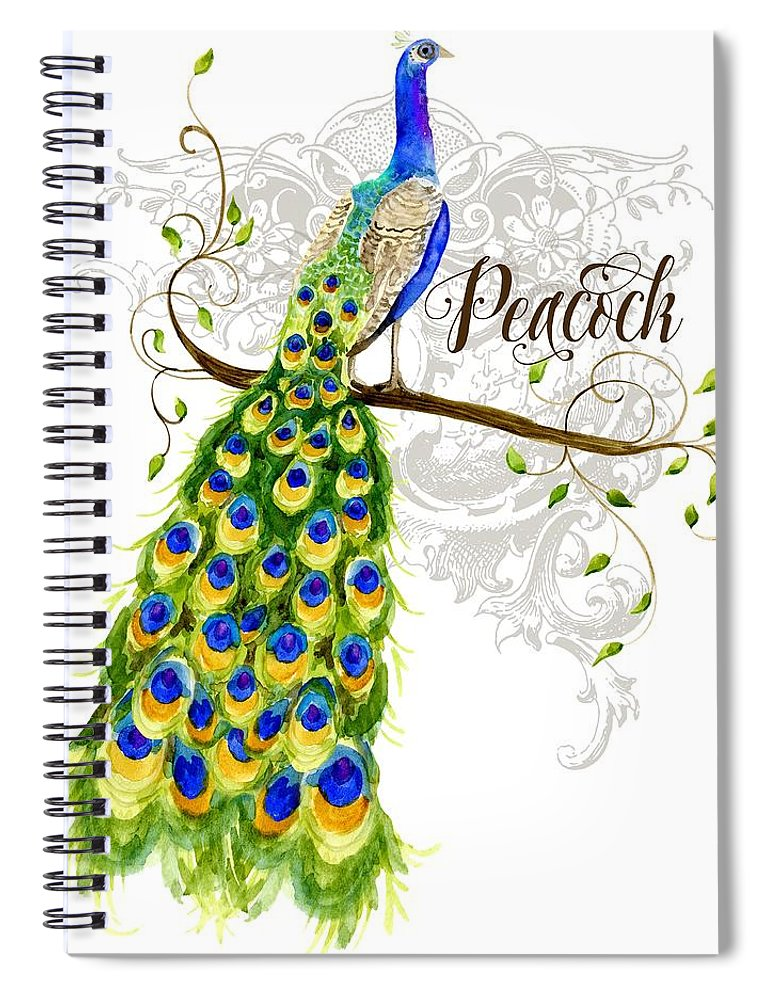 Art Nouveau Spiral Notebook featuring the painting Art Nouveau Peacock W Swirl Tree Branch And Scrolls by Audrey Jeanne Roberts