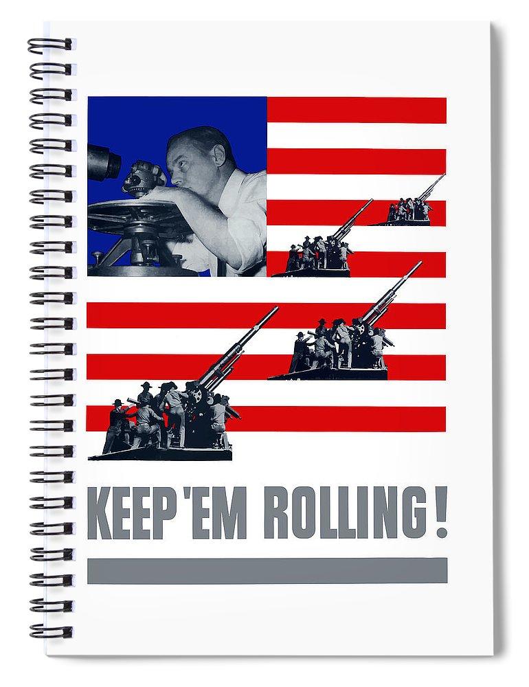 World War Ii Spiral Notebook featuring the digital art Artillery -- Keep 'em Rolling by War Is Hell Store