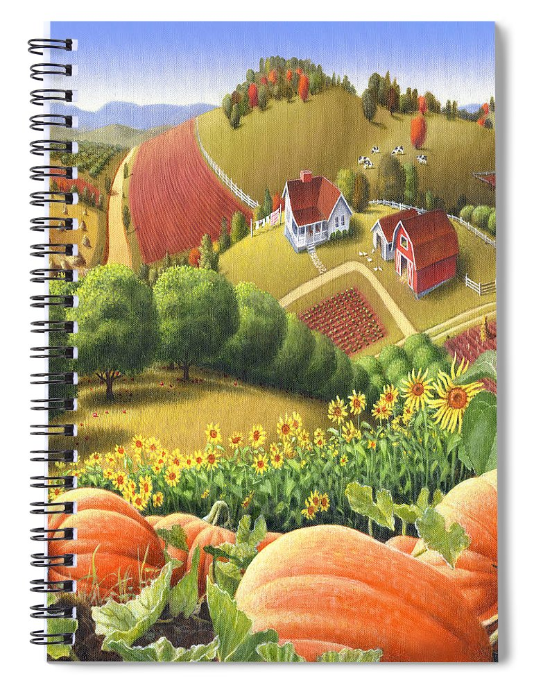 Pumpkin Spiral Notebook featuring the painting Farm Landscape - Autumn Rural Country Pumpkins Folk Art - Appalachian Americana - Fall Pumpkin Patch by Walt Curlee