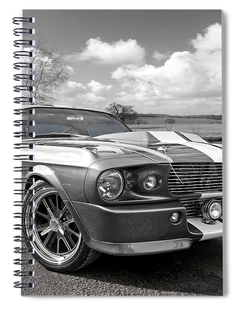 Ford Mustang Spiral Notebook featuring the photograph 1967 Eleanor Mustang In Black And White by Gill Billington
