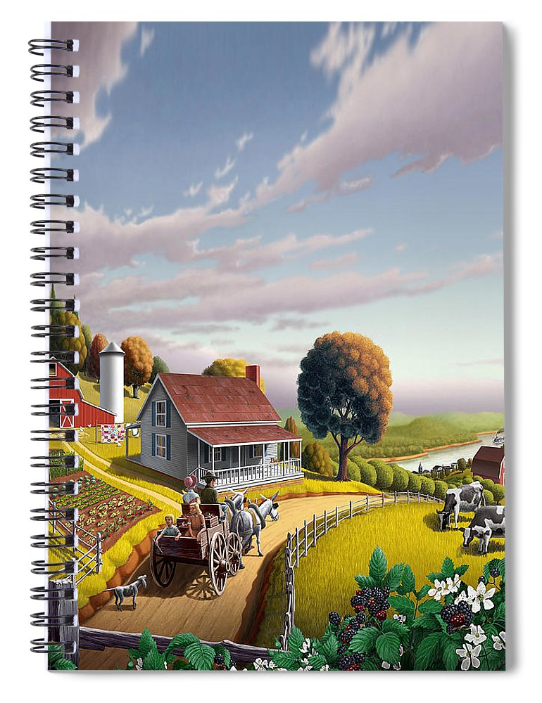Farm Landscape Spiral Notebook featuring the painting Appalachian Blackberry Patch Rustic Country Farm Folk Art Landscape - Rural Americana - Peaceful by Walt Curlee