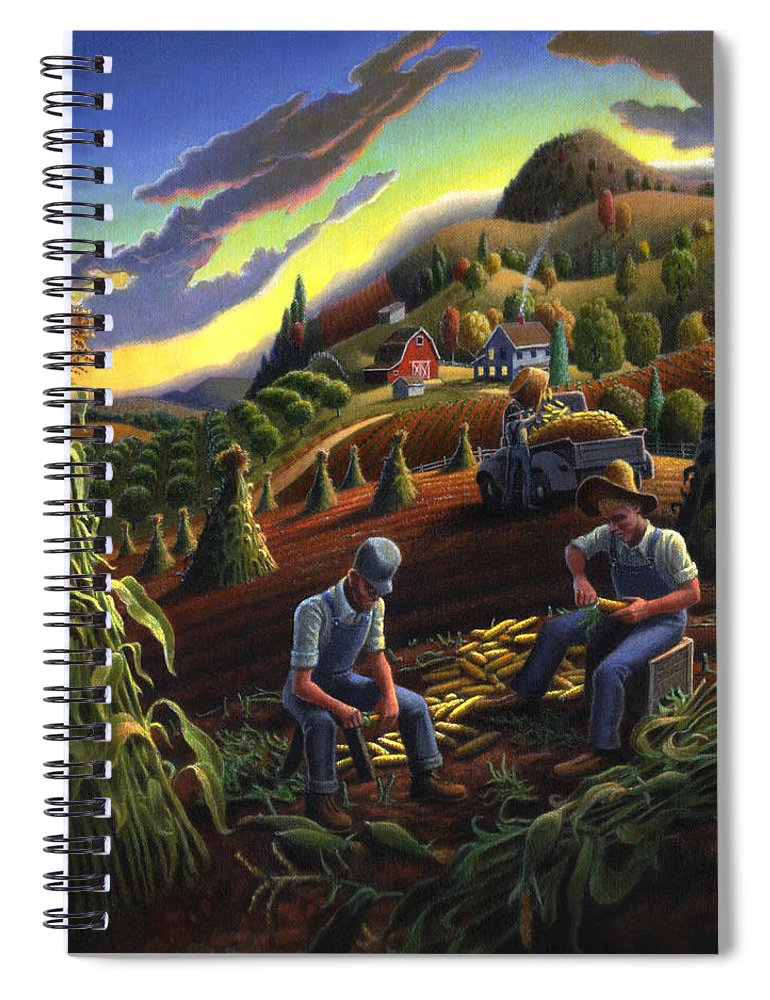 Autumn Spiral Notebook featuring the painting Autumn Farmers Shucking Corn Appalachian Rural Farm Country Harvesting Landscape - Harvest Folk Art by Walt Curlee