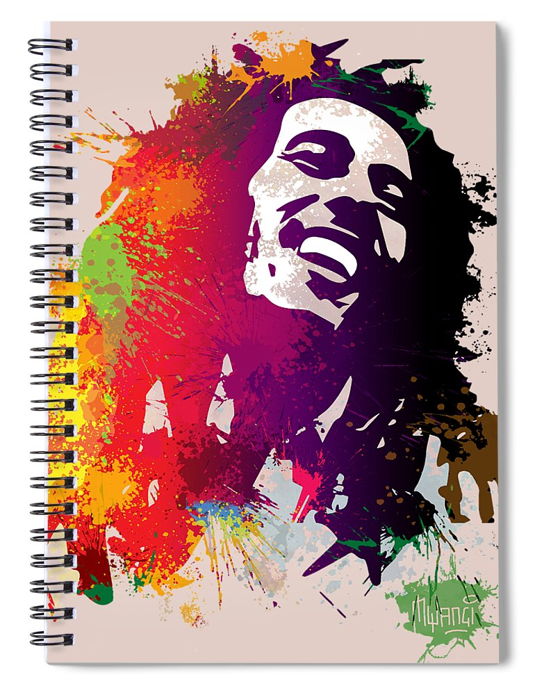Reggae Spiral Notebook featuring the painting Nesta Robert by Anthony Mwangi