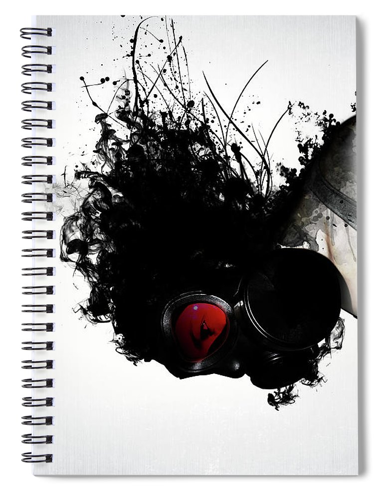 Gas Spiral Notebook featuring the mixed media Ghost Warrior by Nicklas Gustafsson