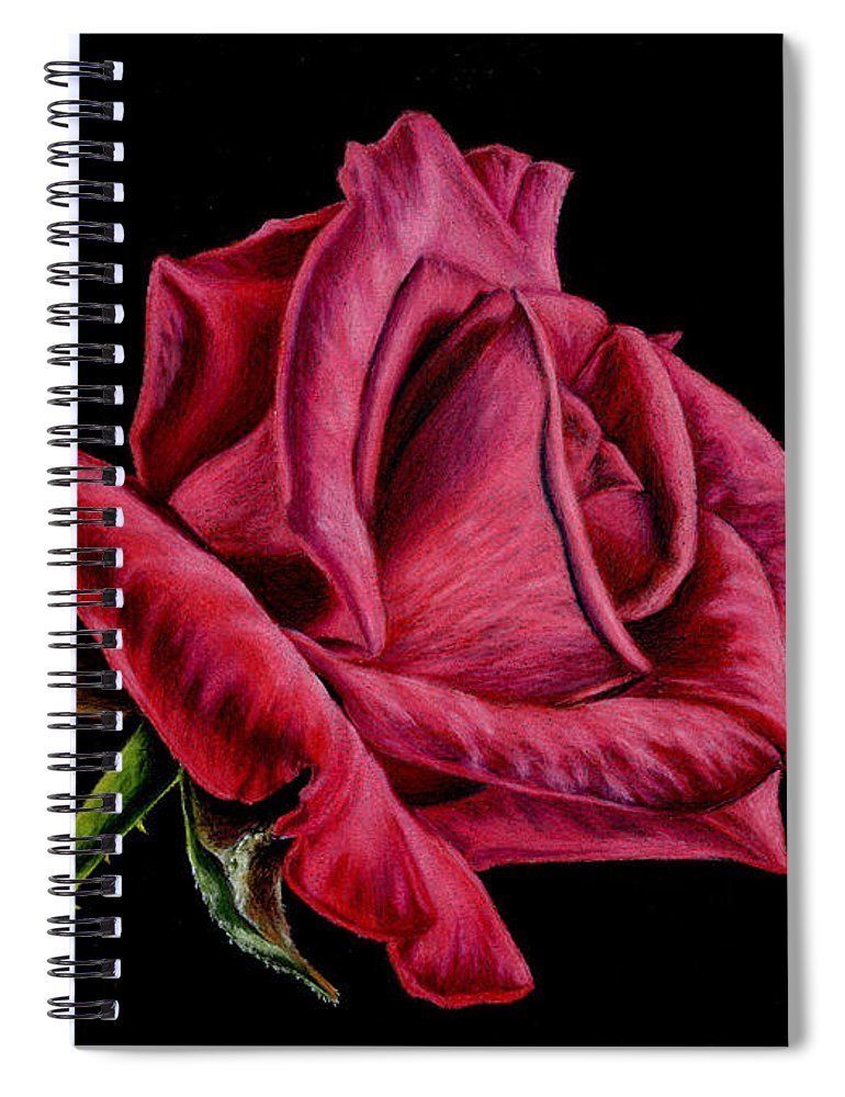 Rose Spiral Notebook featuring the painting Red Rose On Black by Sarah Batalka