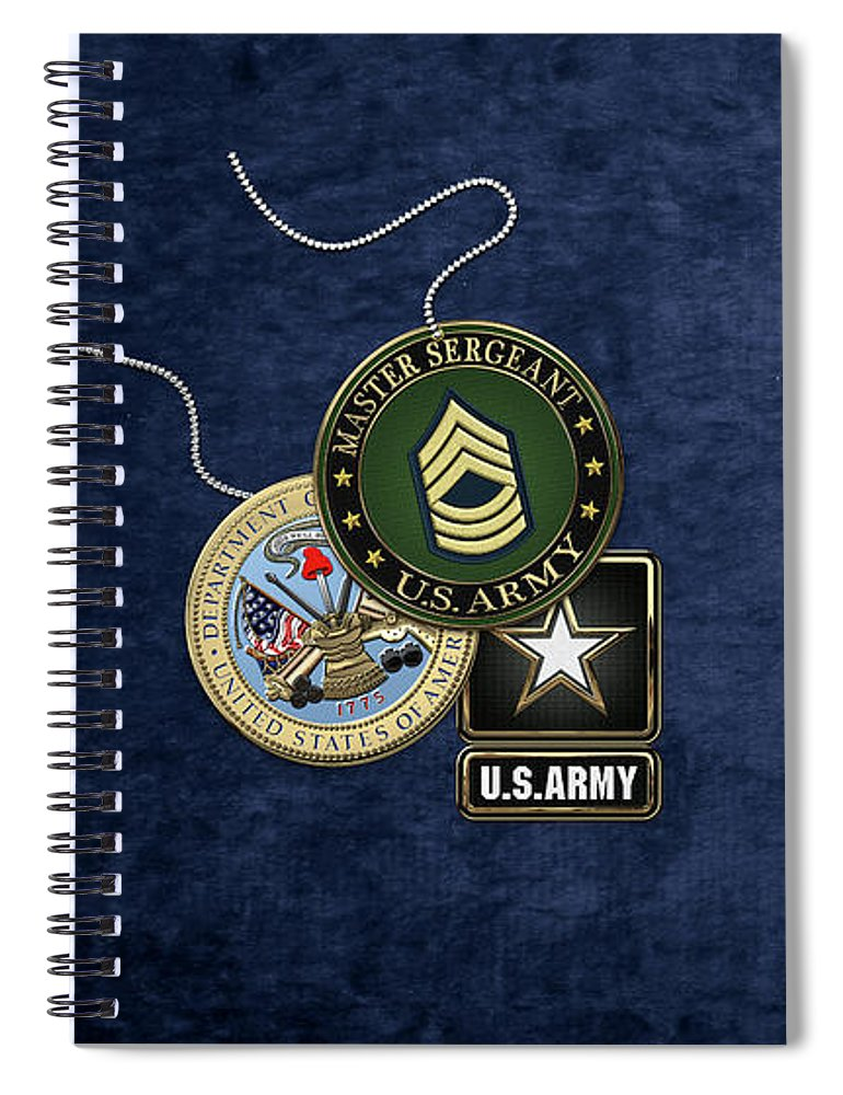 Military Insignia & Heraldry Collection By Serge Averbukh Spiral Notebook featuring the digital art U. S. Army Master Sergeant  - M S G Rank Insignia With Army Seal And Logo Over Blue Velvet by Serge Averbukh