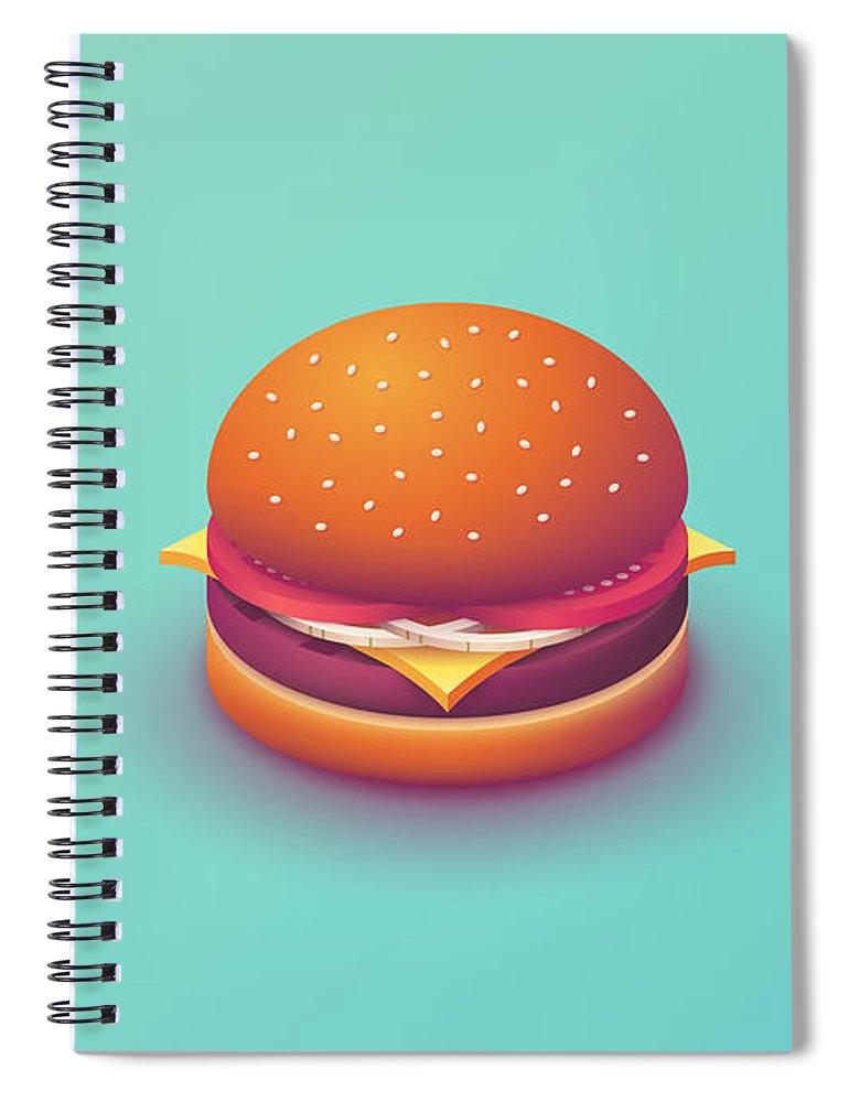 Burger Spiral Notebook featuring the digital art Burger Isometric - Plain Mint by Ivan Krpan
