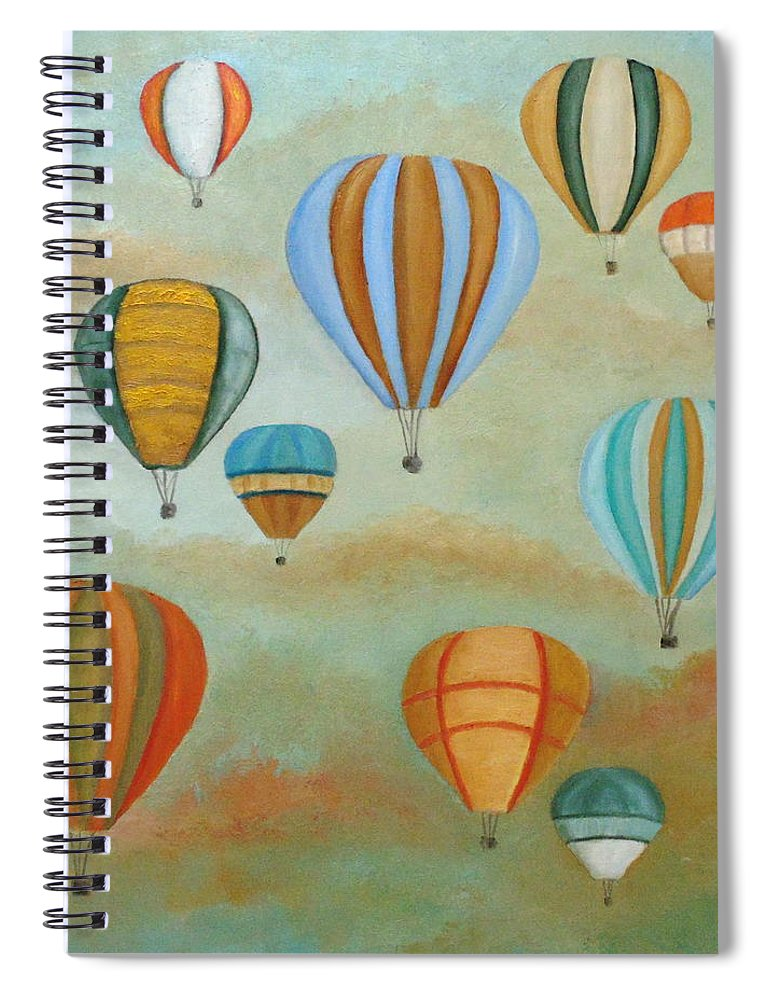 Balloons Spiral Notebook featuring the painting Rising High by Angeles M Pomata