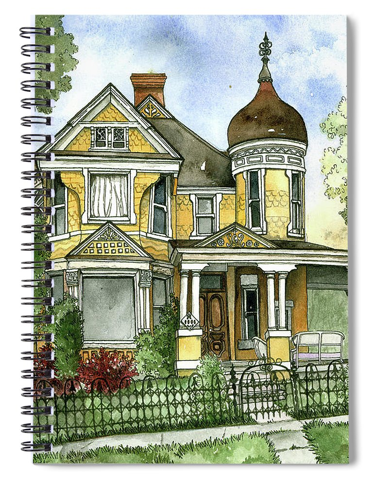 Victorian Spiral Notebook featuring the painting Victorian In The Avenues by Shelley Wallace Ylst