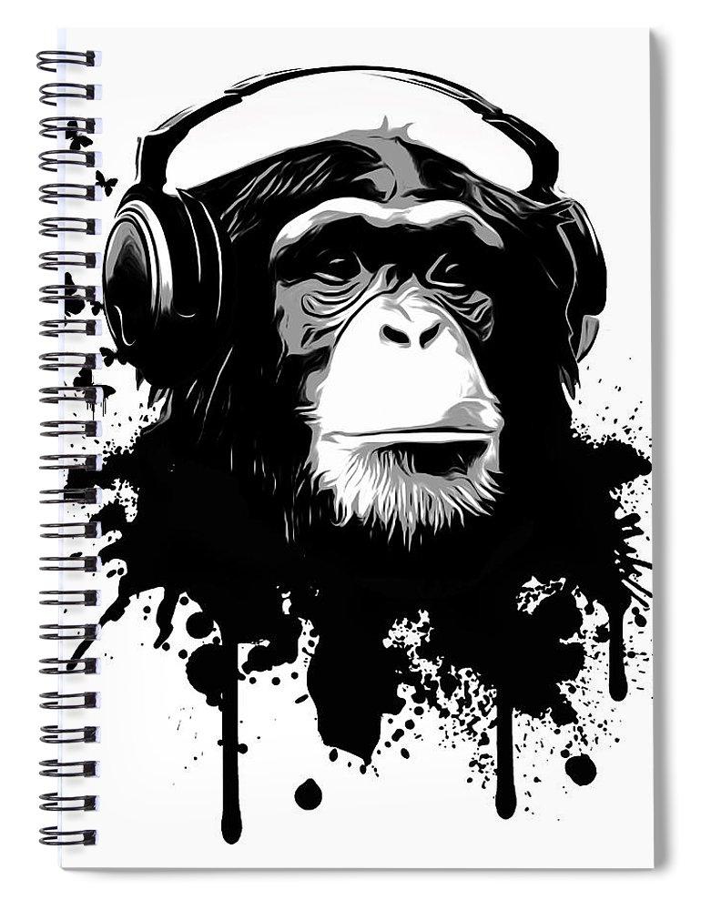 Ape Spiral Notebook featuring the digital art Monkey Business by Nicklas Gustafsson