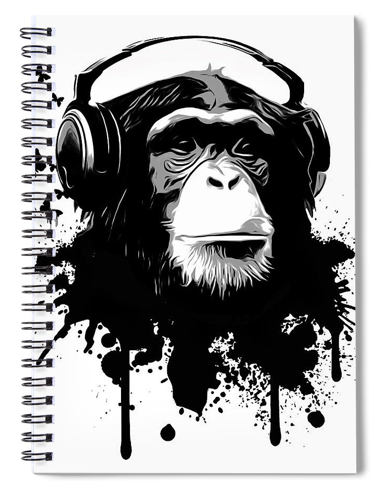 Ape Spiral Notebook featuring the digital art Monkey Business by Nicklas Gustafsson