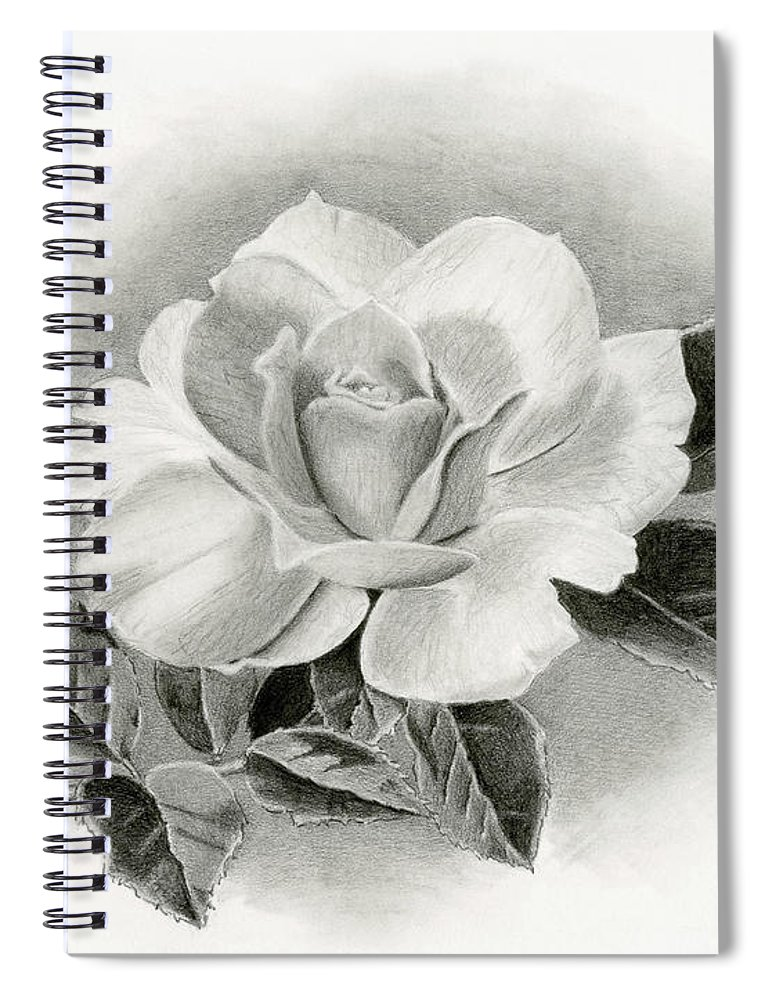 Rose Spiral Notebook featuring the drawing Vintage Rose by Sarah Batalka
