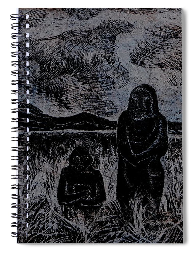 Graphica Spiral Notebook featuring the drawing Asia.gone With The Wind by Anna Duyunova