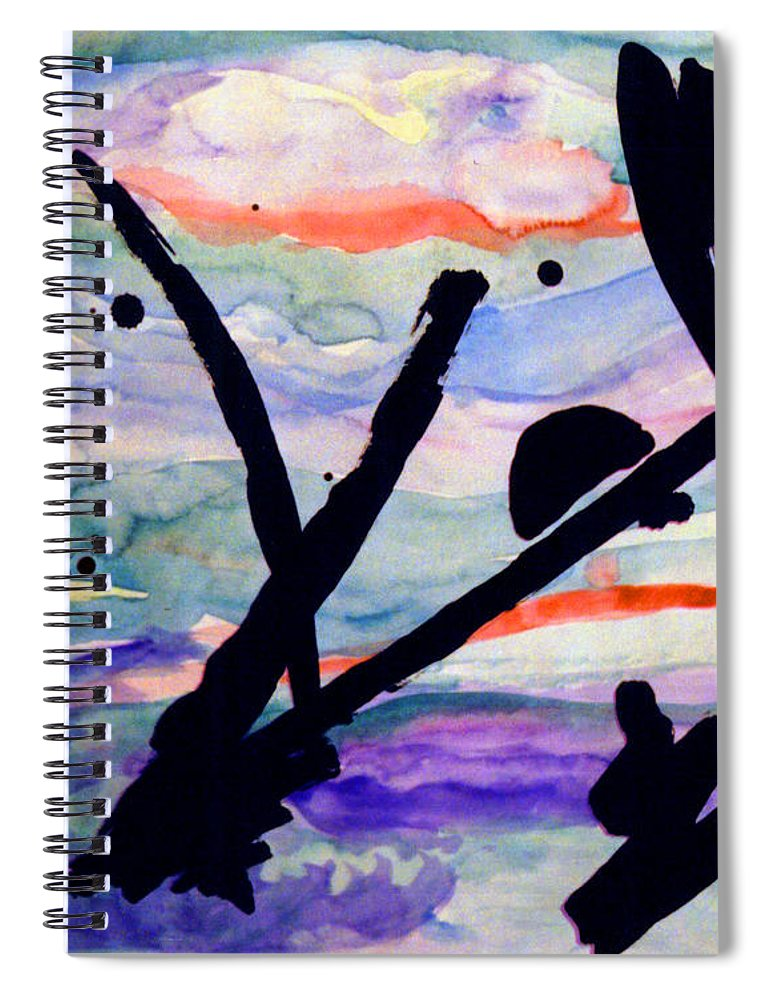 Abstract Spiral Notebook featuring the painting Asian Impression by Steve Karol
