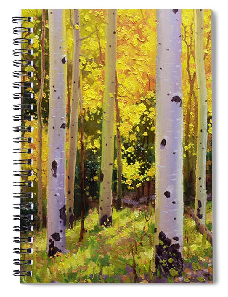 Aspen Forest Tree Spiral Notebook featuring the painting Aspen Symphony by Gary Kim