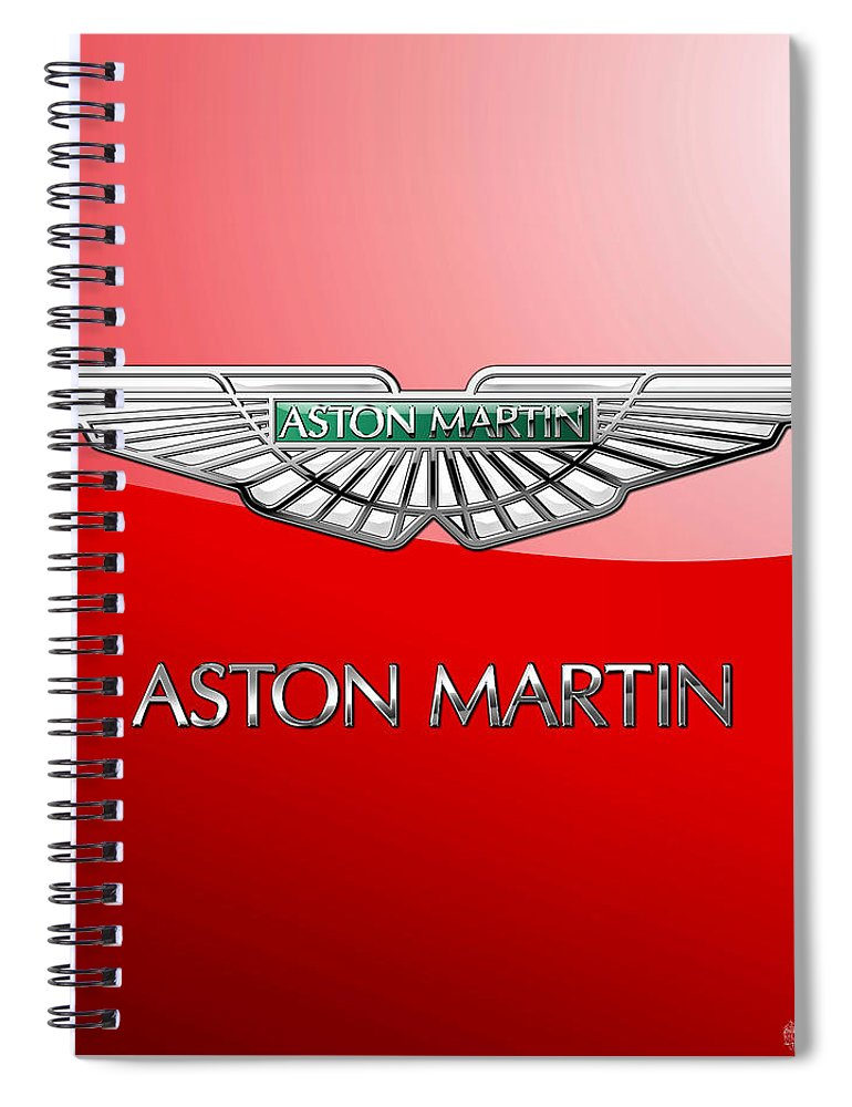 Wheels Of Fortune� Collection By Serge Averbukh Spiral Notebook featuring the photograph Aston Martin - 3 D Badge On Red by Serge Averbukh