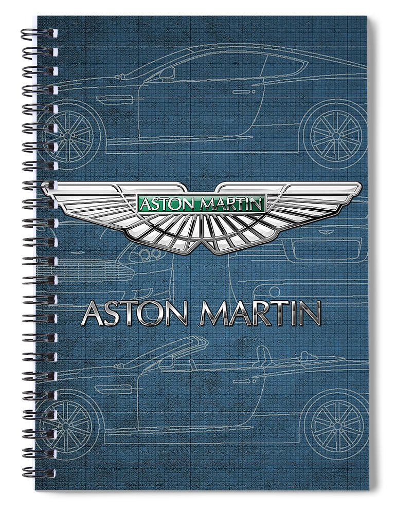 Wheels Of Fortune By Serge Averbukh Spiral Notebook featuring the photograph Aston Martin 3 D Badge over Aston Martin D B 9 Blueprint by Serge Averbukh