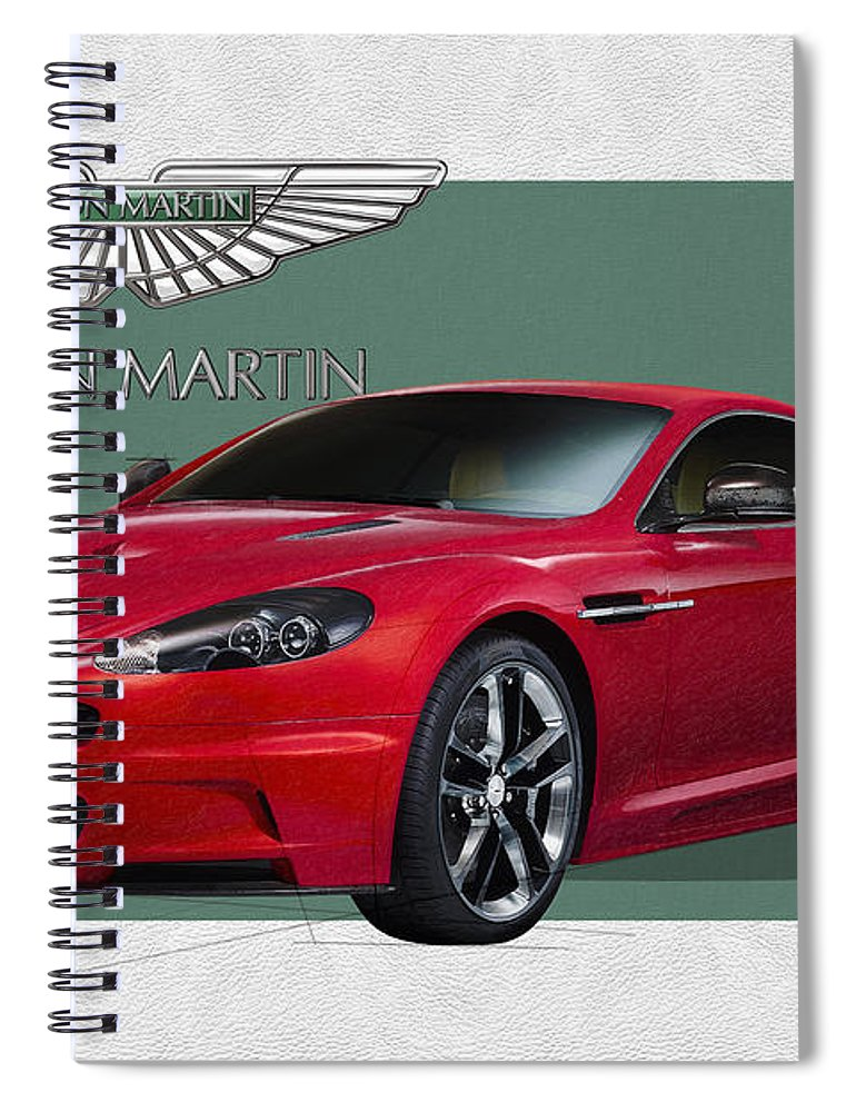�aston Martin� By Serge Averbukh Spiral Notebook featuring the photograph Aston Martin D B S V 12 with 3 D Badge by Serge Averbukh