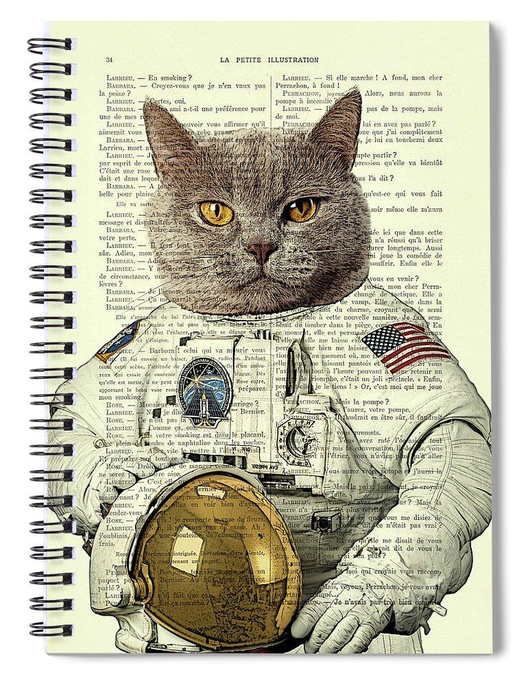 Astronaut Spiral Notebook featuring the digital art Astronaut Cat Illustration by Madame Memento