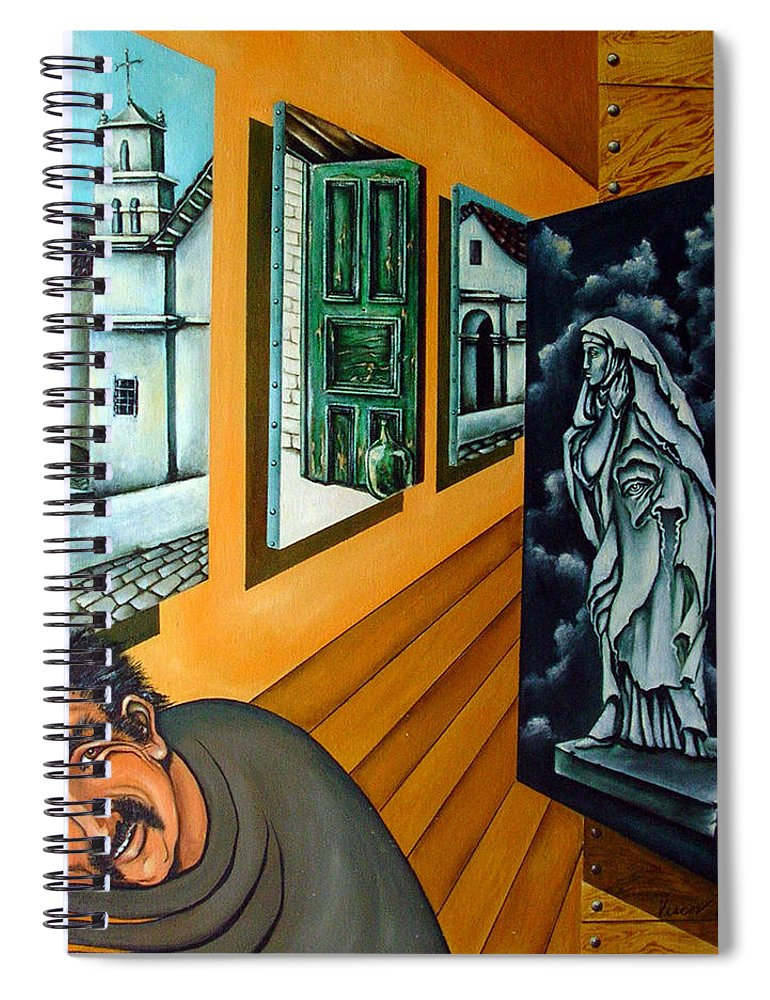 Surreal Spiral Notebook featuring the painting Asylum by Valerie Vescovi