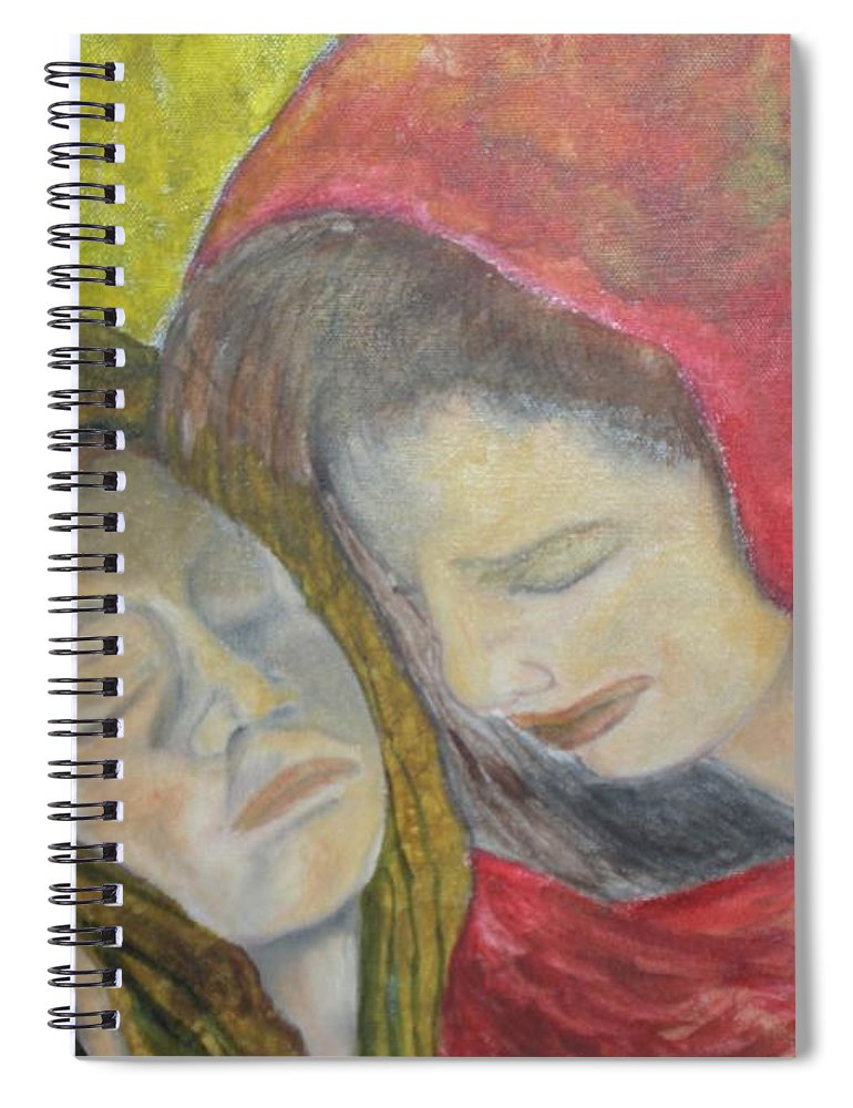 New Artist Spiral Notebook featuring the painting At Last They Sleep by J Bauer