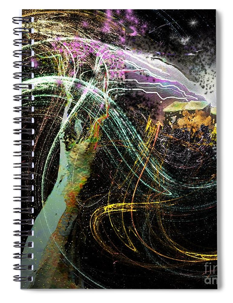 Fantasy Spiral Notebook featuring the painting At The End of The Cosmos by Miki De Goodaboom