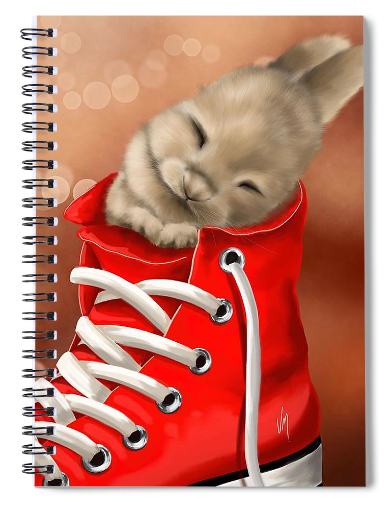 Bunny Spiral Notebook featuring the painting Athletic Rest by Veronica Minozzi