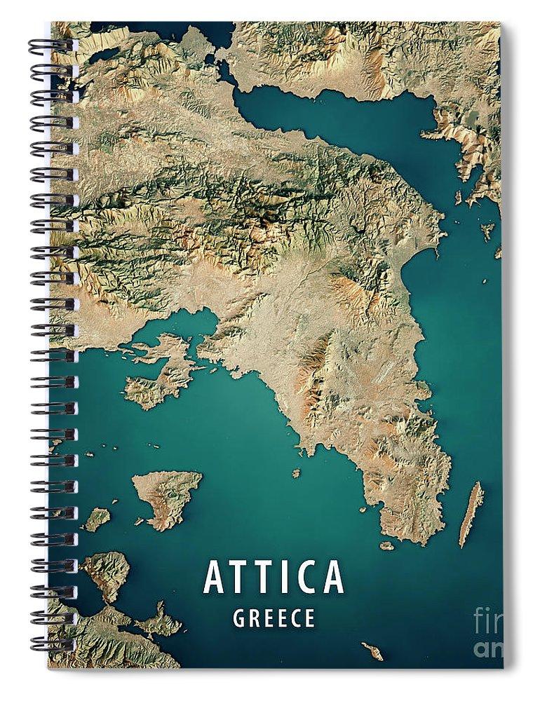 Attica Greece 3d Render Satellite View Topographic Map Spiral