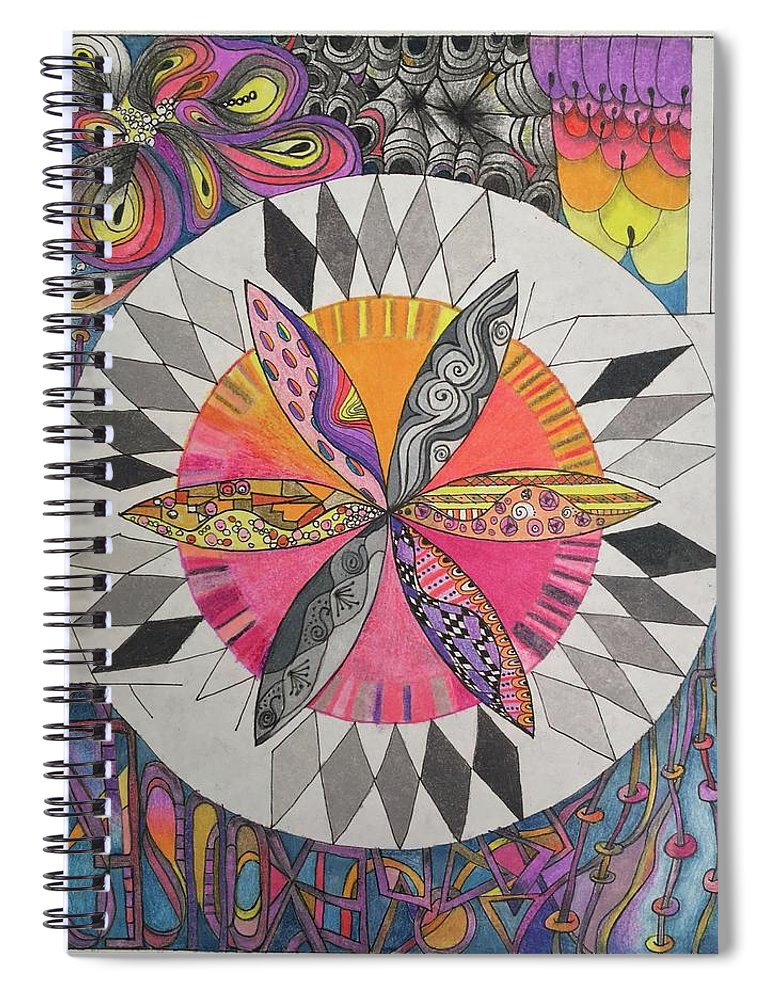 Colored Pencil Spiral Notebook featuring the drawing Attracted by Suzanne Udell Levinger