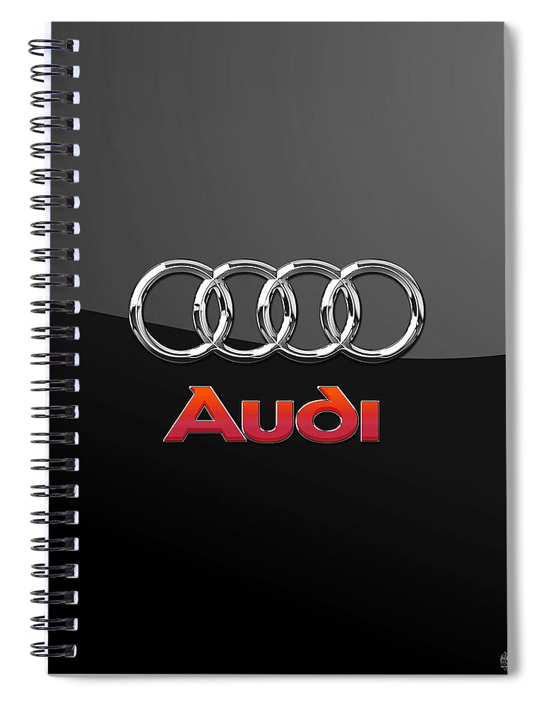 'wheels Of Fortune' Collection By Serge Averbukh Spiral Notebook featuring the photograph Audi 3 D Badge on Black by Serge Averbukh