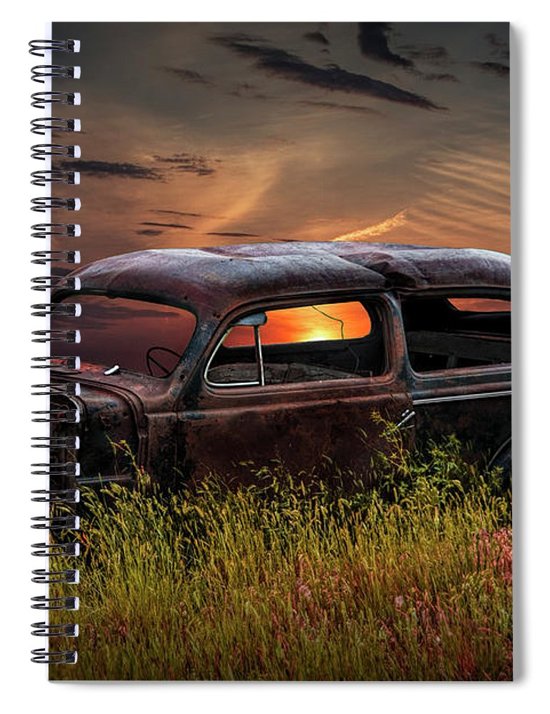 Automobile Spiral Notebook featuring the photograph Left To Rust by Randall Nyhof