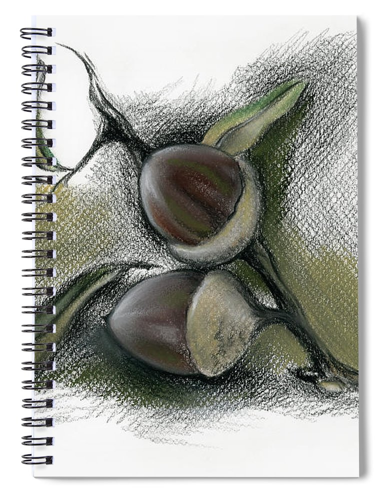 Botanical Spiral Notebook featuring the drawing Autumn Acorns On An Oak Twig by MM Anderson