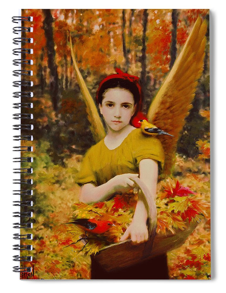 Angel Spiral Notebook featuring the painting Autumn Angels by Stephen Lucas