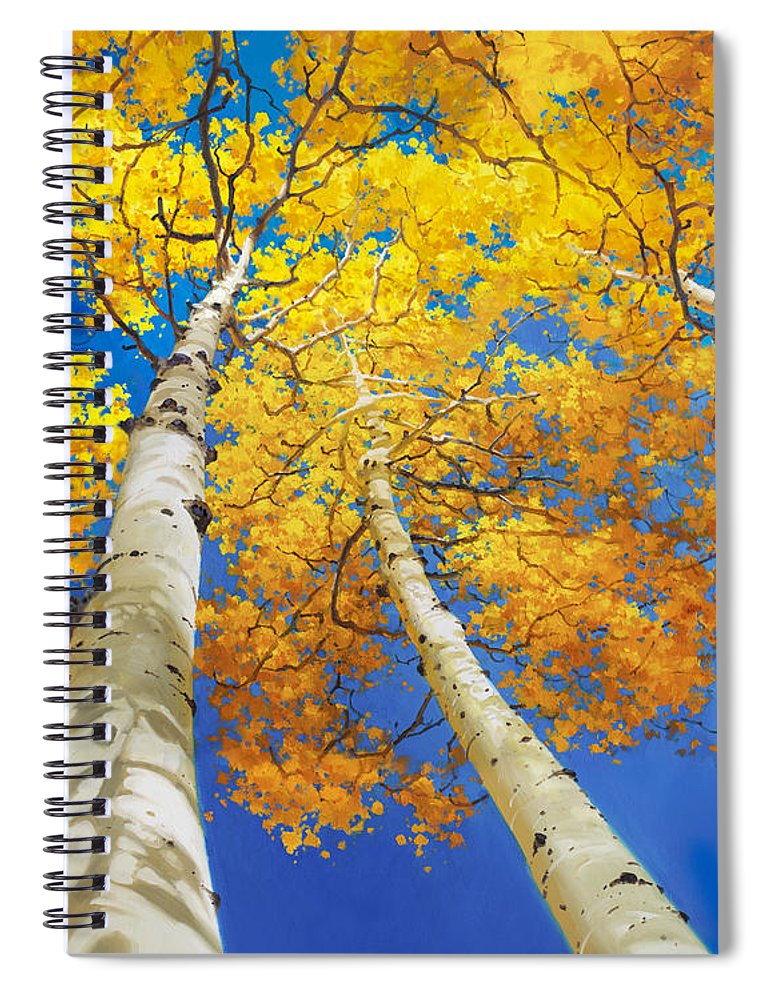 Autumn Aspen Canopy Painting Upward Trees National Park Aspen Colorado Aspen Trees Birch Fall Gary Kim Oil Print Art Nature Scenes Hospital Healing Santa Fe Fall Trees Autumn Season Beautiful Beauty Yellow Red Orange Fall Leaves Foliage Autumn Leaf Color Mountain Oil Painting Original Art Horizontal Landscape Park America Morning Nature Panoramic Peaceful Scenic Sky Sun Travel Vacation View Season Bright Autumn National Park America Clouds Landscape Natural Painting Oil Original Vibrant Blue Sky Spiral Notebook featuring the painting Autumn Aspen Canopy by Gary Kim