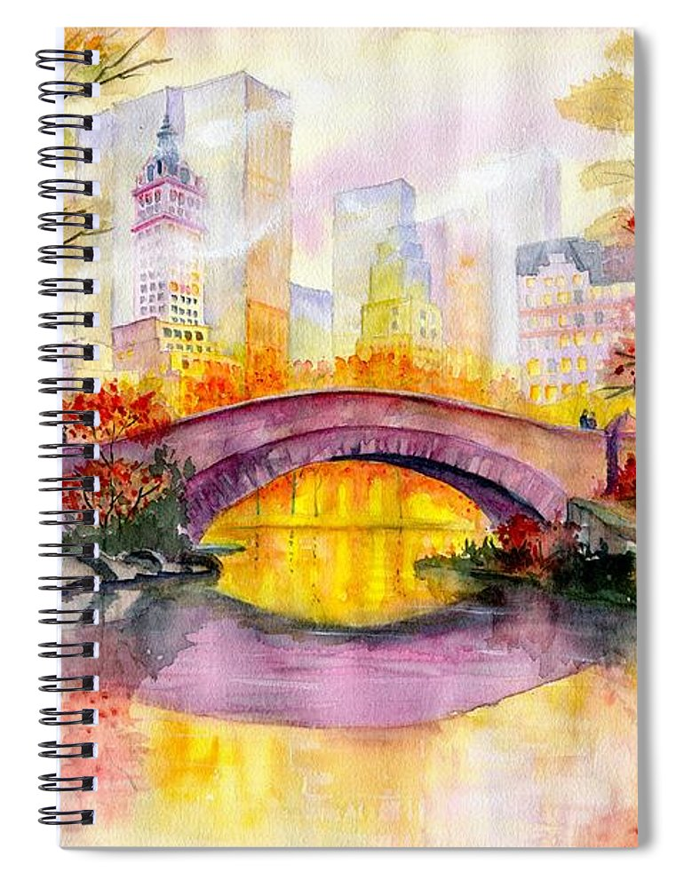 Autumn At Gapstow Bridge Central Park Spiral Notebook featuring the painting Autumn at Gapstow Bridge Central Park by Melly Terpening
