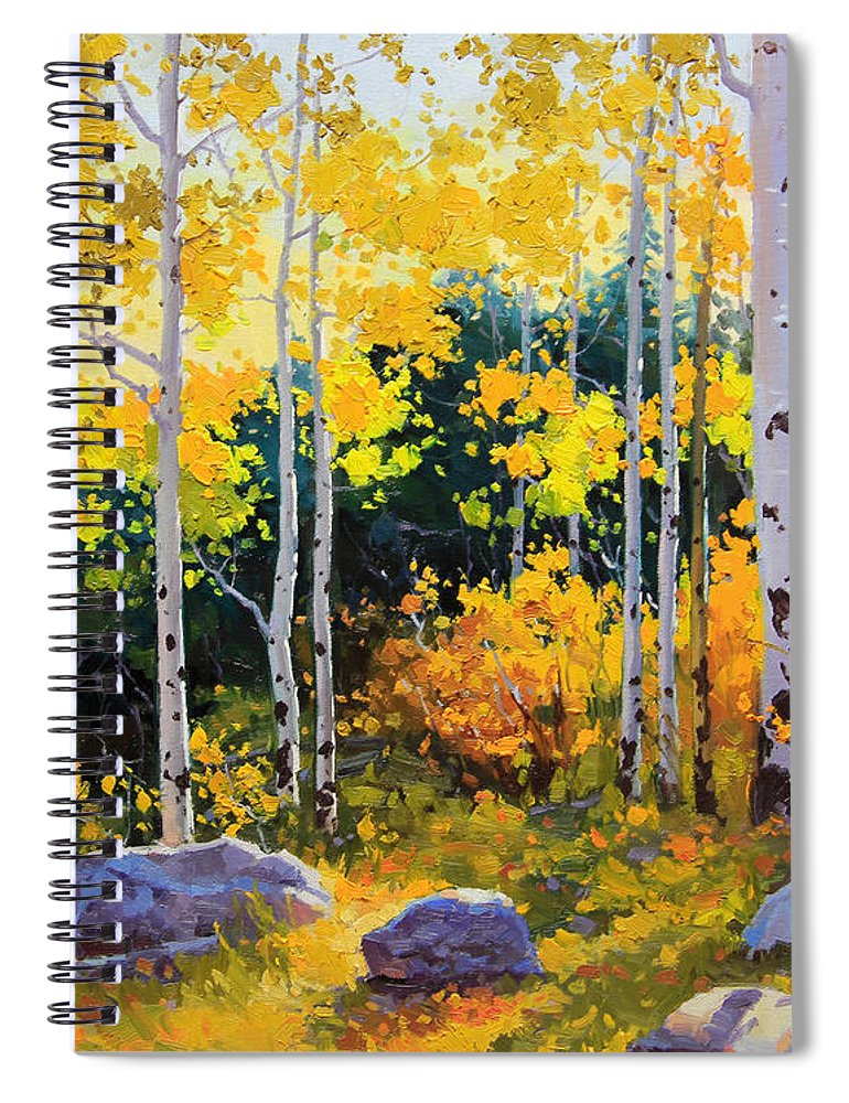 Nature Spiral Notebook featuring the painting Autumn beauty of Sangre de Cristo mountain by Gary Kim
