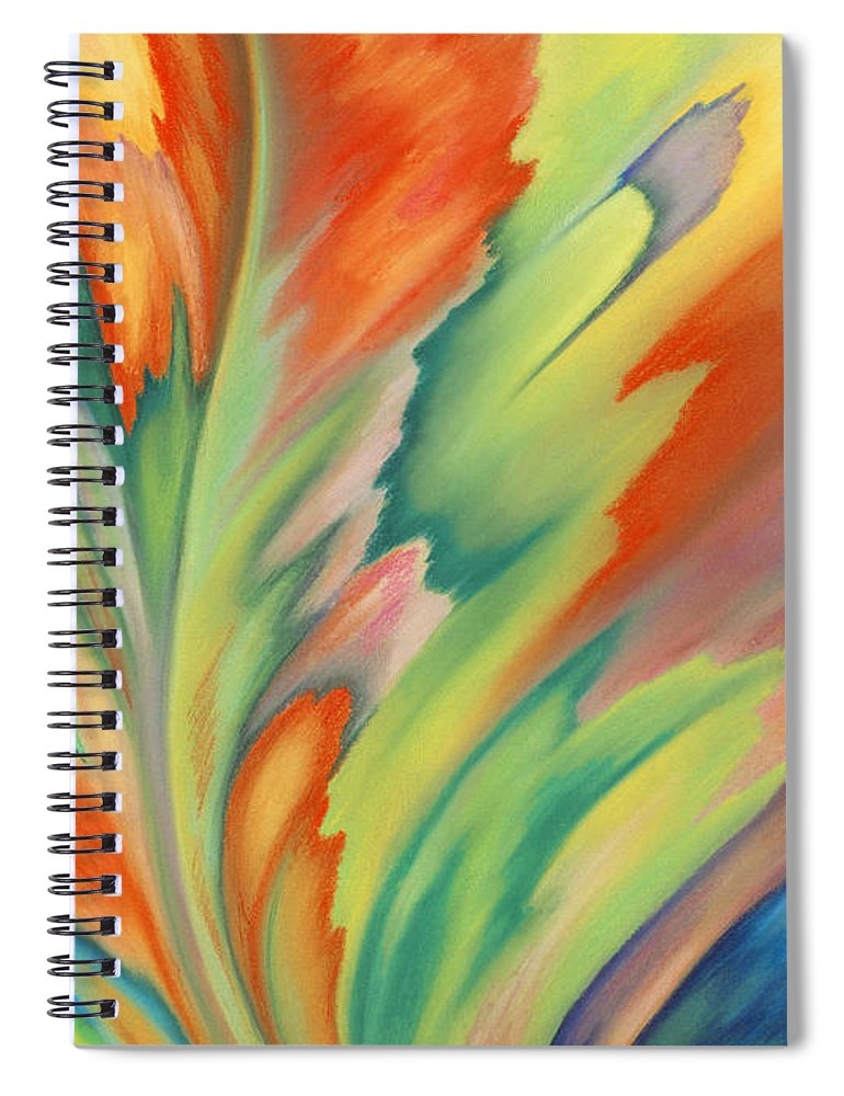 Abstract Spiral Notebook featuring the painting Autumn Flame by Lucy Arnold