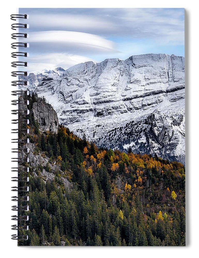 Mountians Spiral Notebook featuring the photograph Autumn In Switzerland by Nedjat Nuhi