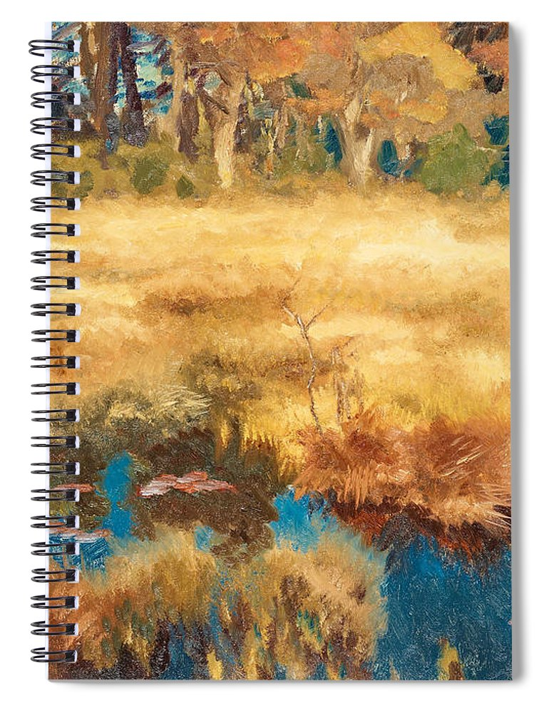 Swedish Art Spiral Notebook featuring the painting Autumn Landscape With Fox by Bruno Liljefors