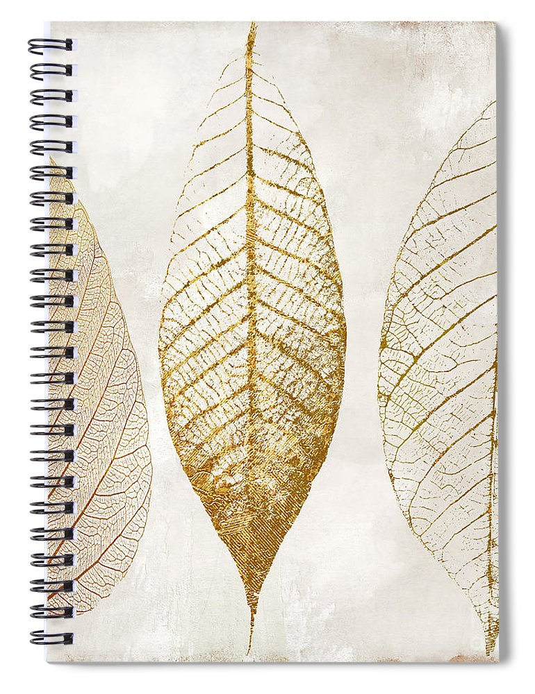 Leaf Spiral Notebook featuring the painting Autumn Leaves IIi Fallen Gold by Mindy Sommers