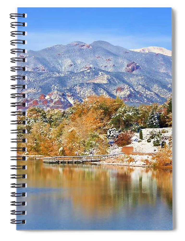 Landscape Spiral Notebook featuring the photograph Autumn Snow At The Lake by Diane Alexander