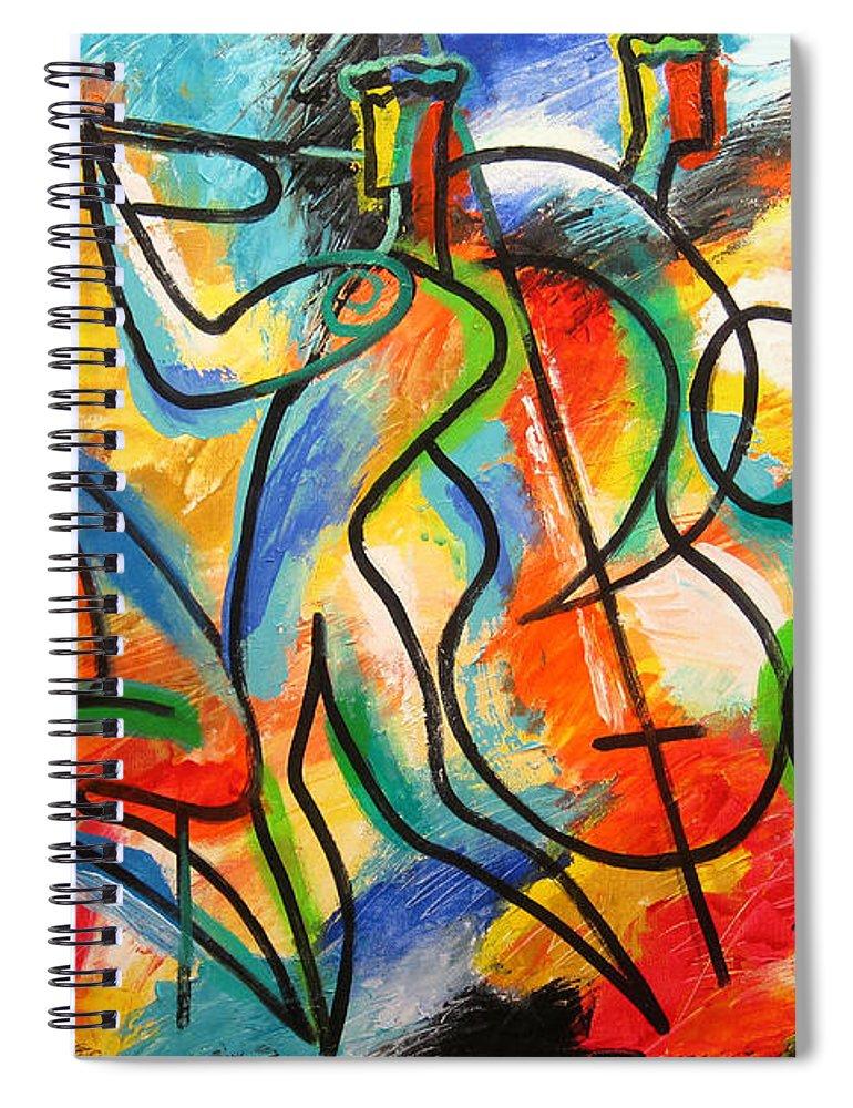 West Coast Jazz Spiral Notebook featuring the painting Avant-garde Jazz by Leon Zernitsky