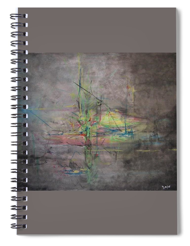 Abstract Spiral Notebook featuring the painting Awakening Abstract 1 Black Background Bright Detail by Lizzy Forrester