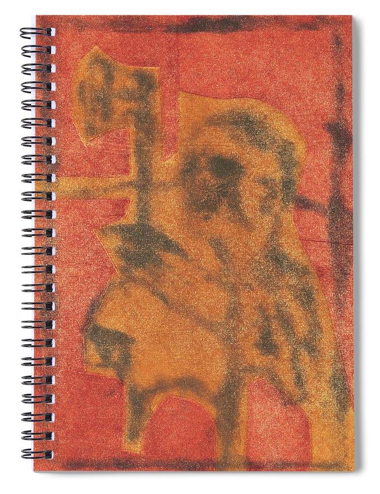 Axeman Spiral Notebook featuring the relief Axeman 10 by Artist Dot