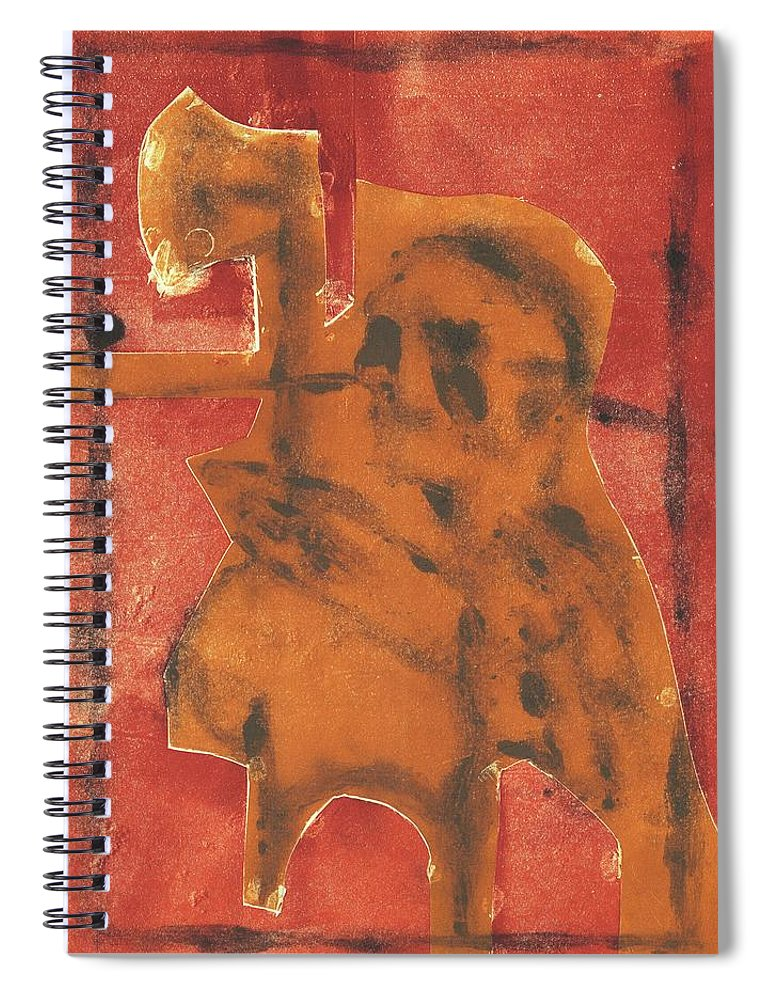 Axeman Spiral Notebook featuring the relief Axeman 13 by Artist Dot