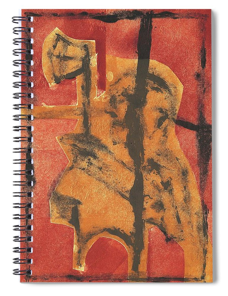 Axeman Spiral Notebook featuring the relief Axeman 14 by Artist Dot