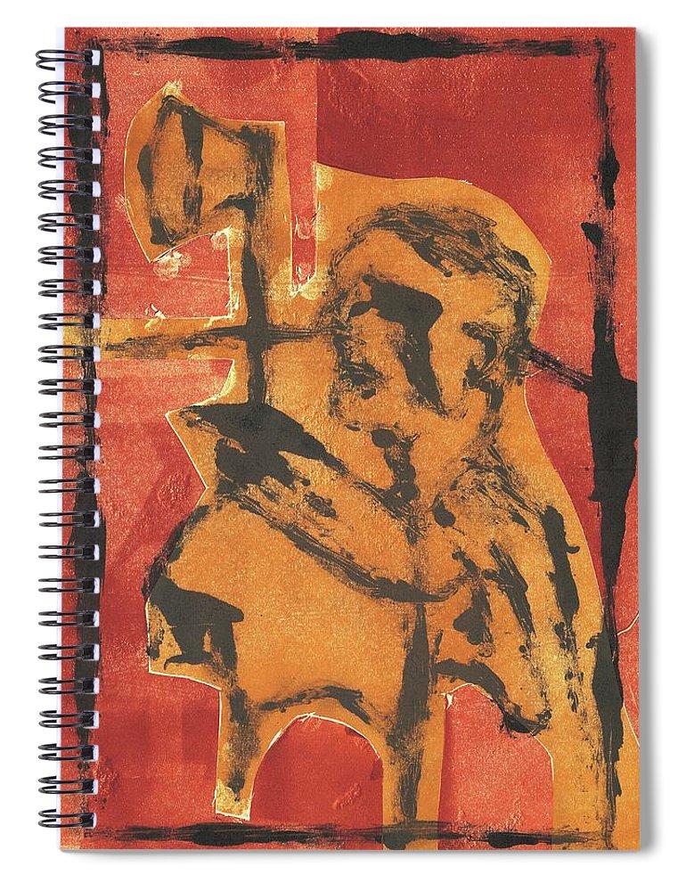 Axeman Spiral Notebook featuring the relief Axeman 7 by Artist Dot