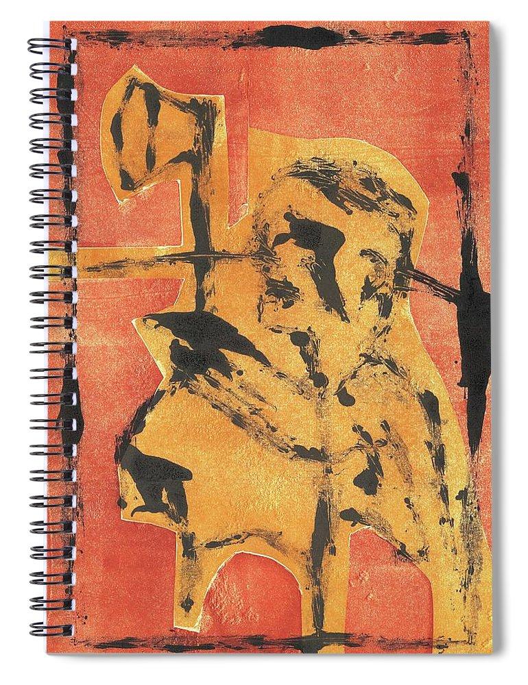 Axeman Spiral Notebook featuring the relief Axeman 8 by Artist Dot