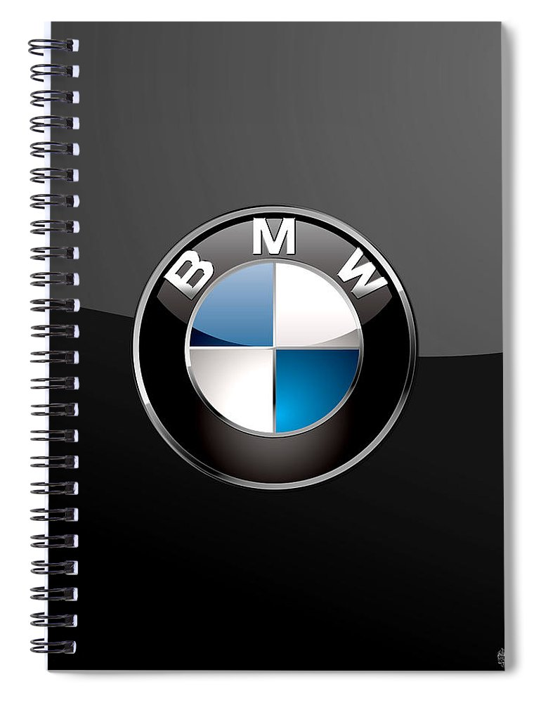 �wheels Of Fortune� Collection By Serge Averbukh Spiral Notebook featuring the photograph B M W 3 D Badge on Black by Serge Averbukh